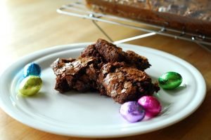 Leftover Easter Candy Brownies from A Duck's Oven. Bake all that candy into brownies then pass out to lucky coworkers and friends! Works just as well for Halloween!