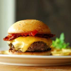 gourmet hamburger with bacon and cheese