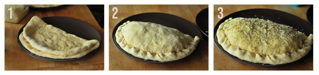Step by step filling and sealing the calzone
