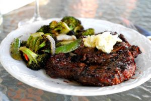 Perfect, Perfect Ribeye from A Duck's Oven. Grilled ribeye steaks with plenty of creamy bleu cheese butter.