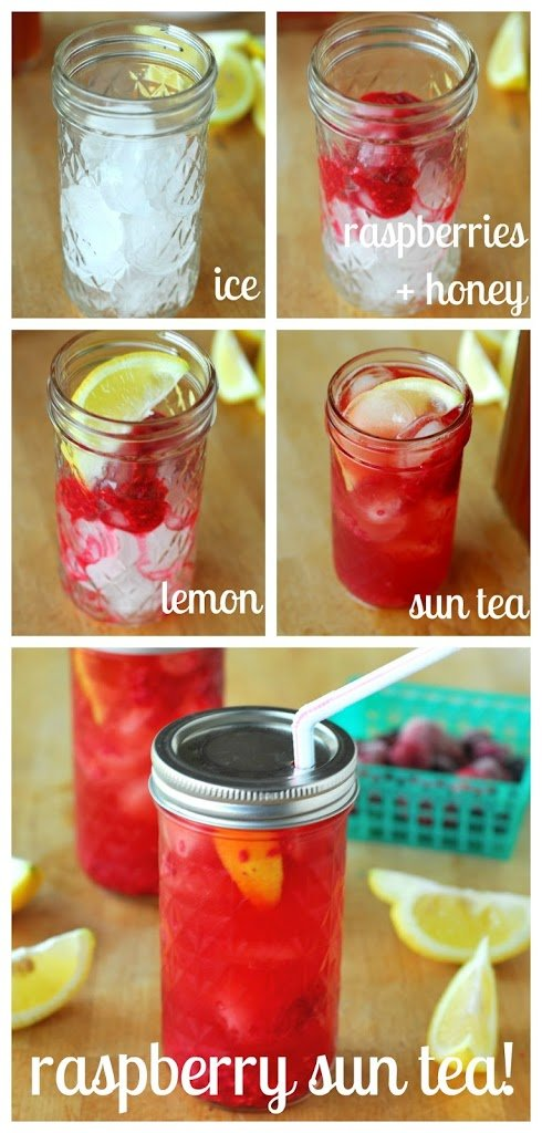 Raspberry Sun Tea and To-Go Mason Jars from A Duck's Oven. Delicious sun tea mixed with a raspberry puree, lemon, and honey makes a very refreshing beverage!