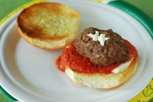Football Marinara from A Duck's Oven. A football season twist on the classic sandwich!