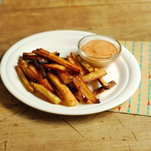 Sweet Potato Fries and Chipotle Mayo Sauce from A Duck's Oven. Very simple sweet potato fries with a spicy chipotle mayo sauce!