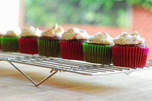 Chocolate Cupcakes with Peppermint Frosting from A Duck's Oven. The perfect treat for the holidays (or anytime)!