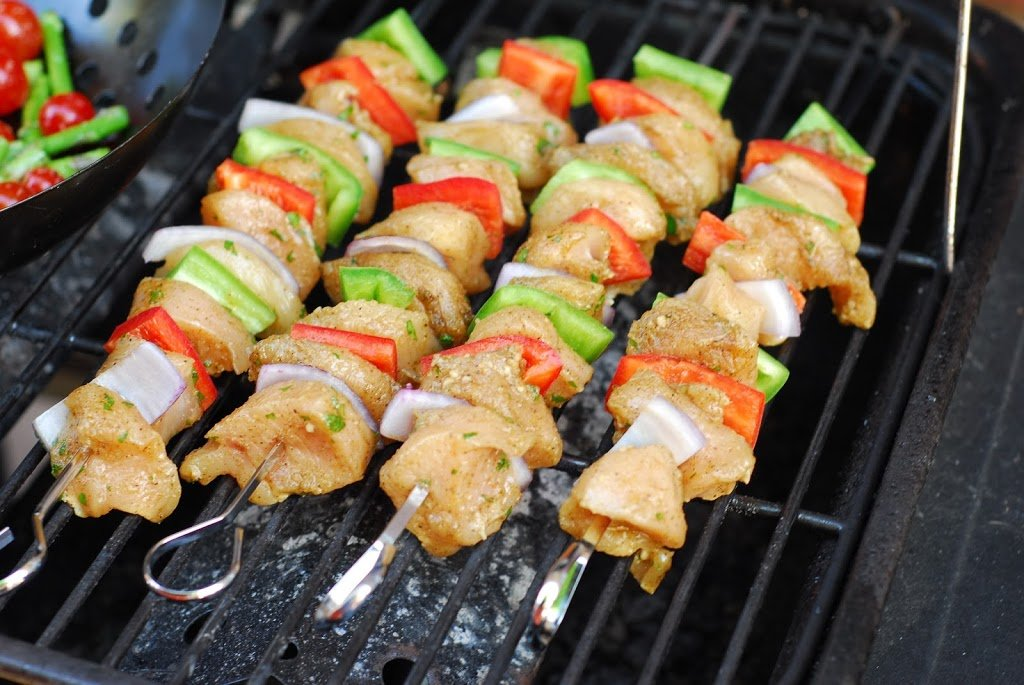 Spicy Chicken Kebabs from A Duck's Oven. Chicken kebabs flavored with a spicy marinade perfect for the grill, but can also be done in your oven.