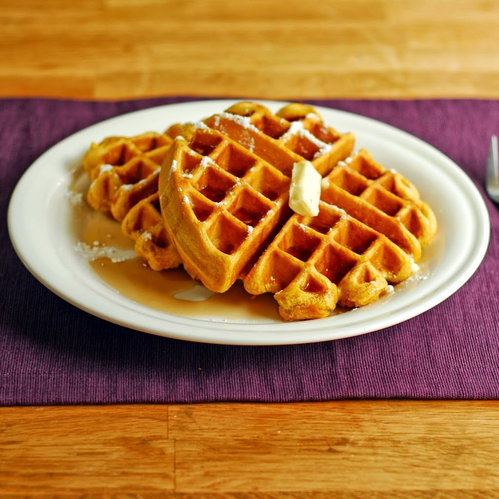 Easy Pumpkin Waffles from A Duck's Oven. Pumpkin waffles made with your waffle or pancake mix and just a few other ingredients!