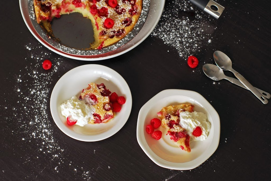 Raspberry and Coconut Clafoutis from A Duck's Oven. Custard meets pancake for this raspberry and coconut clafoutis. Excellent for breakfast or dessert!