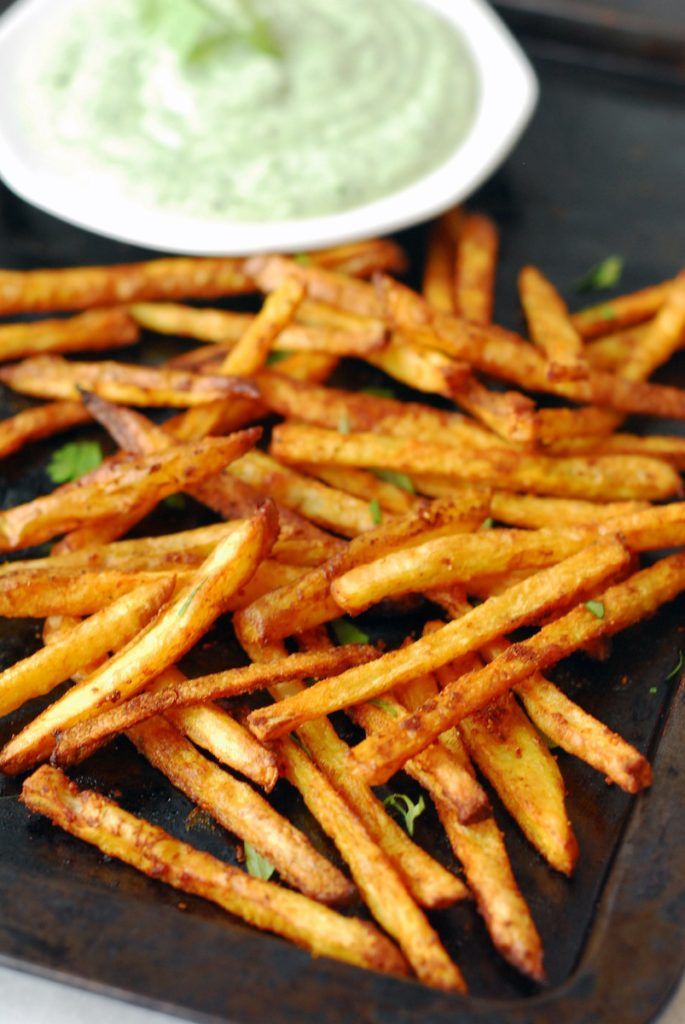 Curry Fries with Cilantro Mint Yogurt Sauce - A Duck\'s Oven