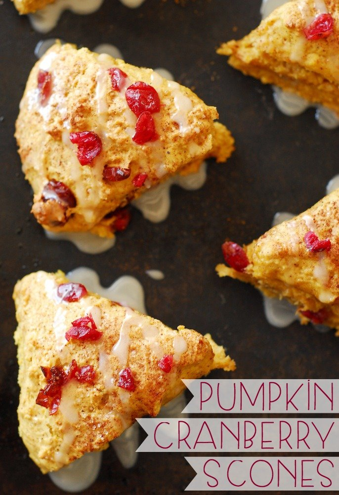 Pumpkin Cranberry Scones from A Duck's Oven. Scones packed with plenty of pumpkin, fall spices, and tart cranberries!