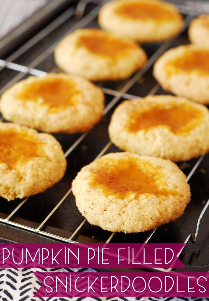 Pumpkin Pie Filled Snickerdoodles from A Duck's Oven. Classic snickerdoodles indented and filled with pumpkin pie. Like a mini-pie, but even more tasty!
