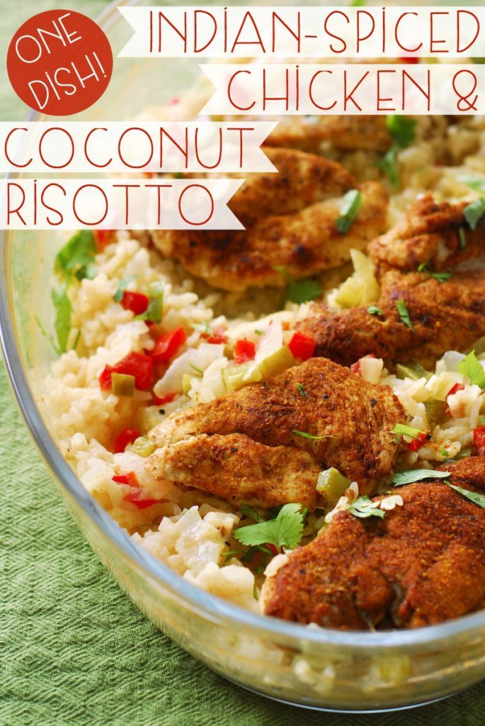 One Dish Indian-Spiced Chicken and Coconut Risotto from A Duck's Oven. Indian-spiced chicken breasts over super flavorful coconut risotto, all in one baking dish!