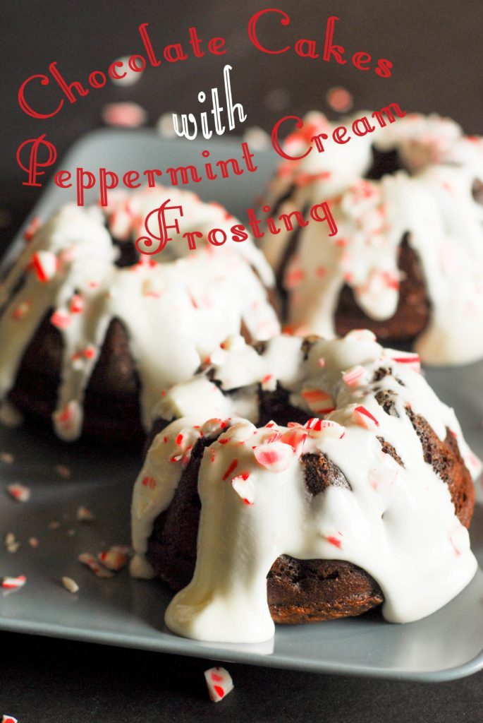 Chocolate Cakes with Peppermint Cream Frosting from A Duck's Oven. These cakes are easy to make and perfect for the holidays!