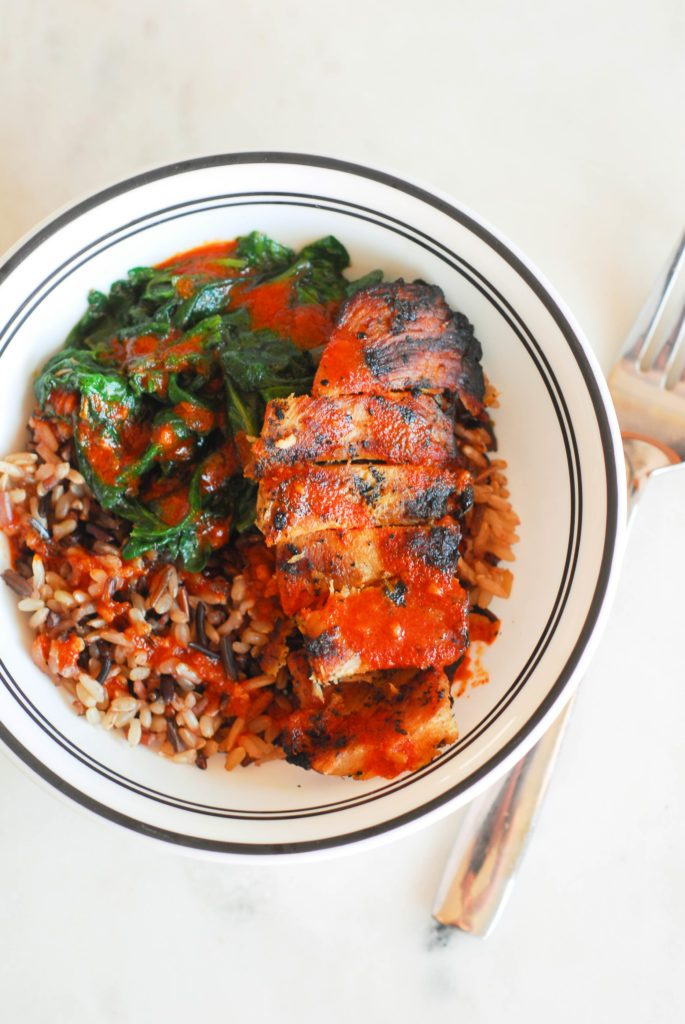 Chicken and Wild Rice Bowls with Paprika Sriracha Sauce from A Duck's Oven.