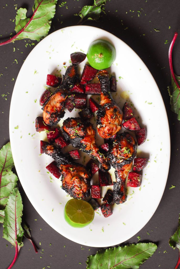 Thai Grilled Chicken and Beets with Coconut Lime Sauce from A Duck's Oven. Savory charred chicken and beets covered in a zesty, silky lime sauce.