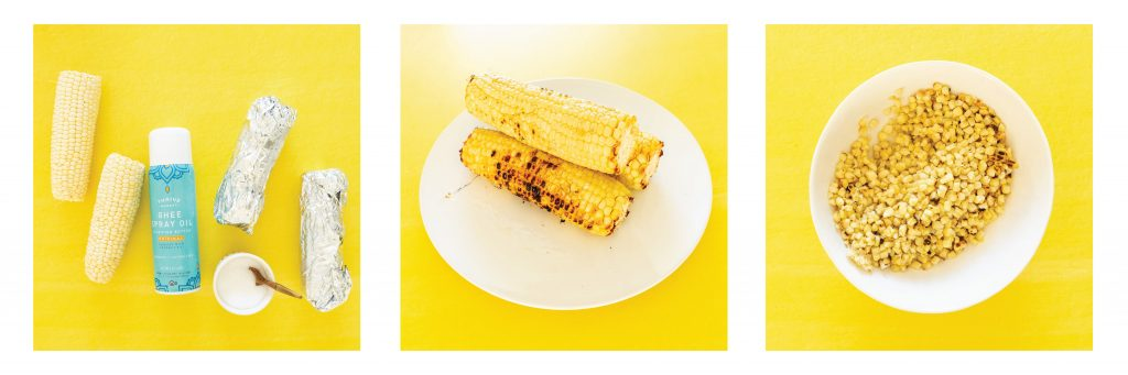 Step by step photos of grilling corn and removing kernels