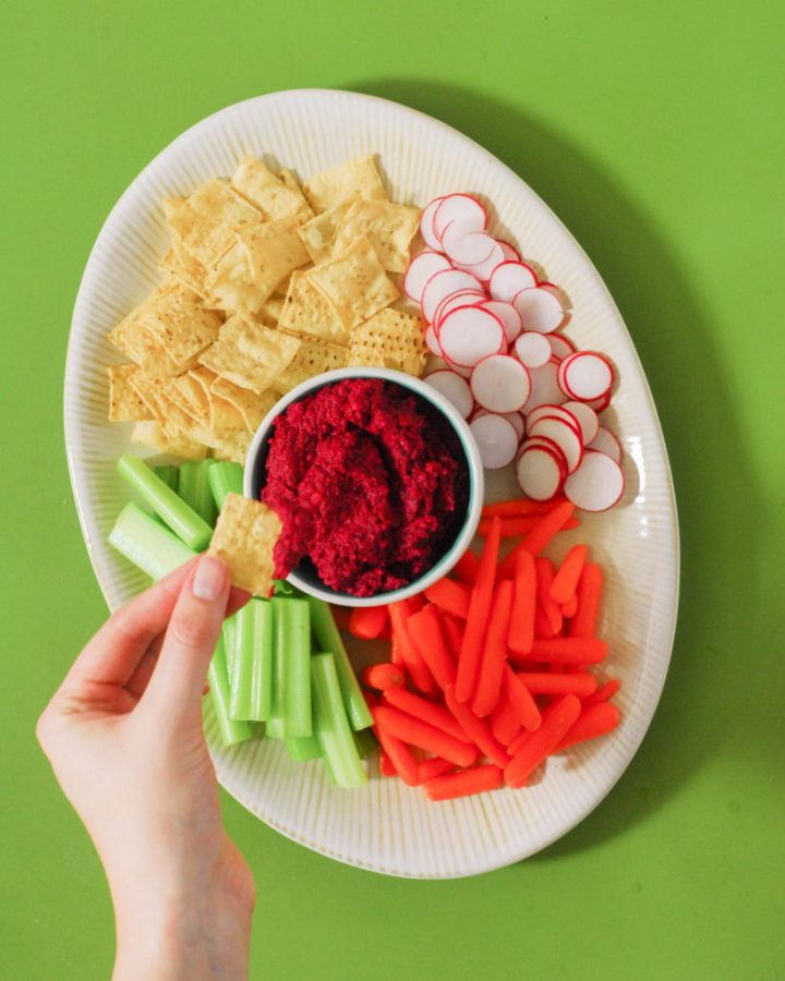 Roasted Garlic & Beet Hummus from A Duck's Oven