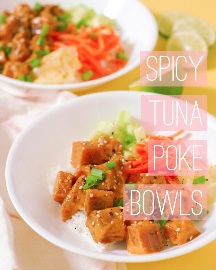 Spicy Tuna Poke Bowls from A Duck's Oven