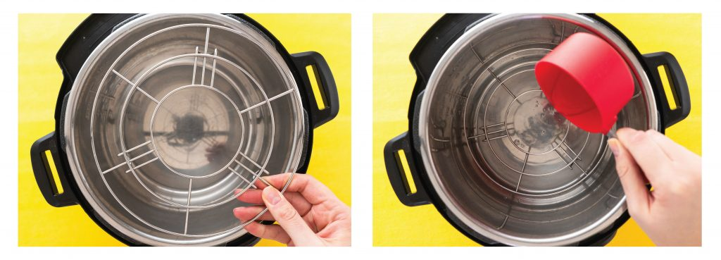 2 photos of Instant Pot side by side, one with trivet being placed and the other with water being poured in