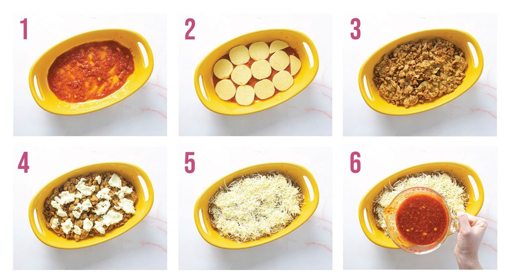 Steps to make polenta lasagna