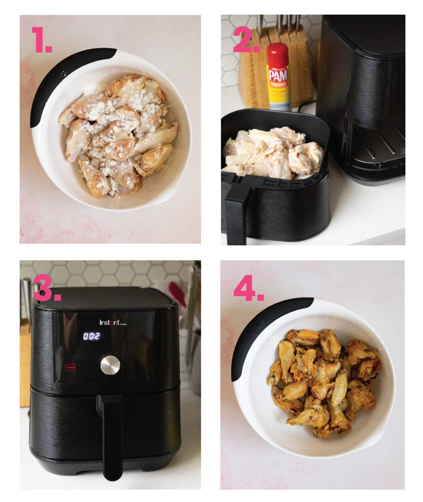 Step by step for air fryer hot wings