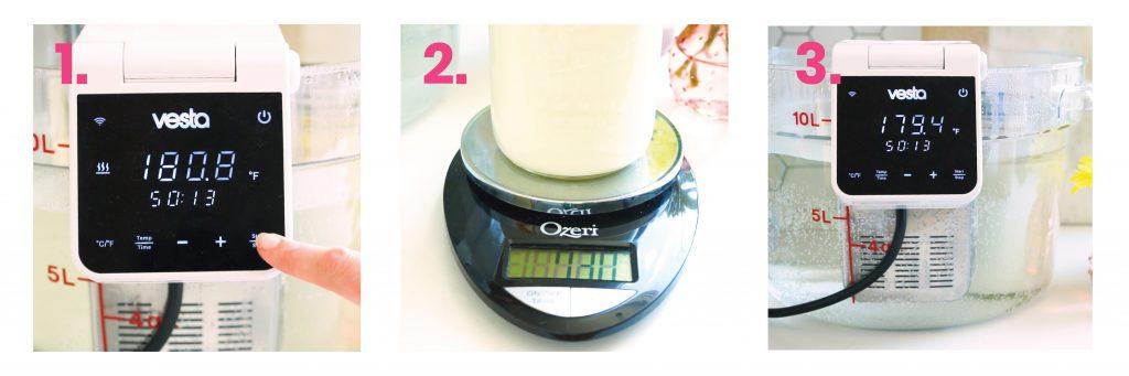 Step by step of cooking milk