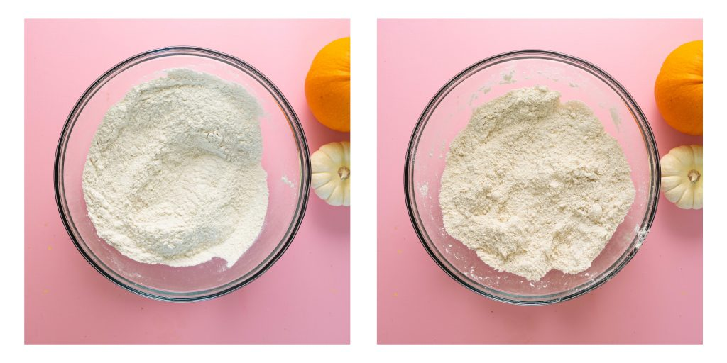 Dry ingredients on left, butter cut into dry ingredients on right