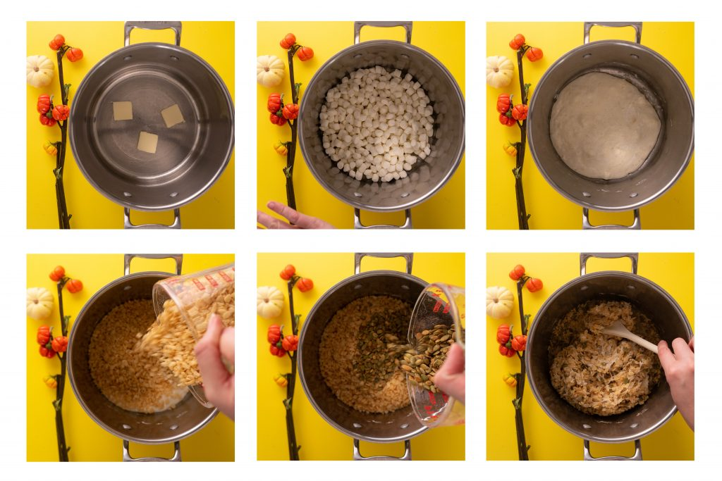 Photos of steps of making pumpkin seed rice krispie treats