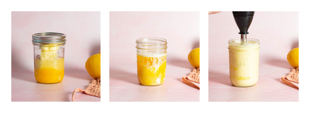 Collage of photos showing step by step hollandaise process