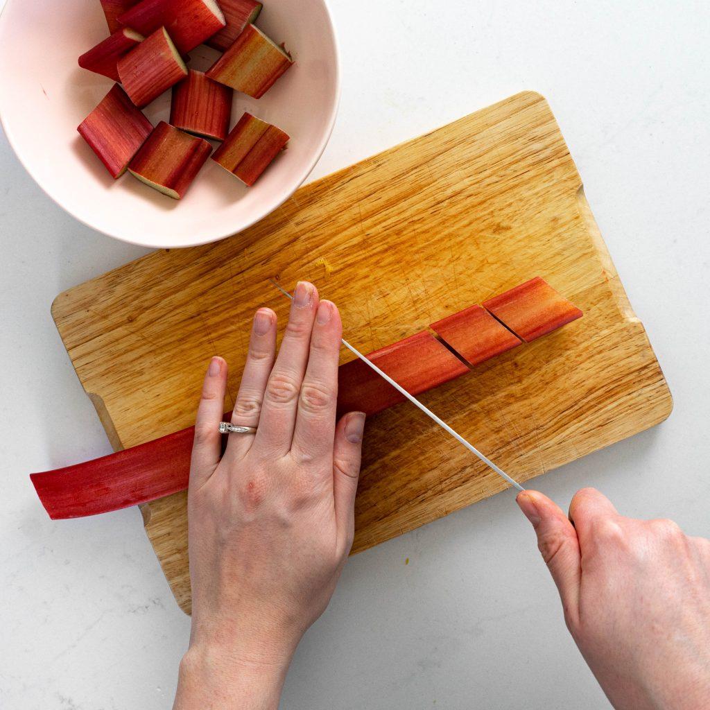 Chopping rhubarb